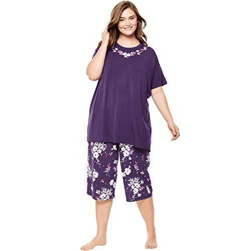 Dreams & Co. Women's Plus Size Knit Sleep Pant - Rich Violet Bud, 4X