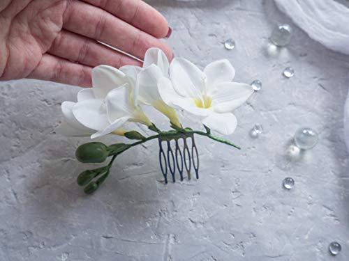 foam EVA white Hair comb white freesia foam flowers hand made