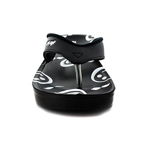 Aerosoft Sonrisa Mujeres Emoji Face Sandals Orthotic Flip Flops Black