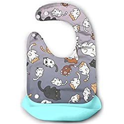 Hazagi Baby Aprons Cat Cat Cat Silicone Bib Waterproof Easily Clean Soft Washable Roll Up Pocket Adjustable