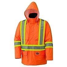 Pioneer V1090150-L Lightweight Hi-Viz Safety Rain Jacket, Comfort Fit, Orange, Large