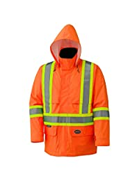 Pioneer V1090150-XL Lightweight High Visibility Safety Jacket-Waterproof with Detachable Hood, Orange, X-Large