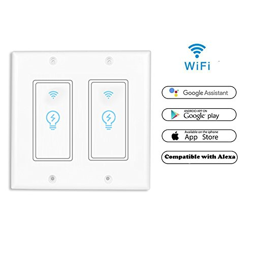 Smart Light Switch, Wireless Standard Smart Socket Outlet,WiFi Switch In-wall,Remote Control Your Fixtures From Anywhere,Timing Function,Compatible with Amazon Alexa (Smart Switch In Wall KS602-2Gang)