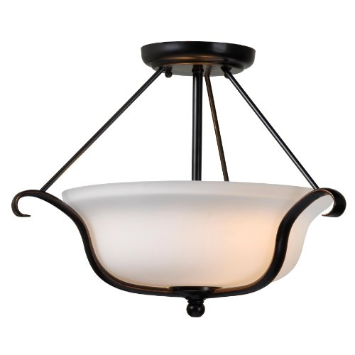 Basket Semi Flush - Kenroy Home 93117ORB Basket 2-Light Semi Flush Light Fixture with Oil Rubbed Bronze Finish