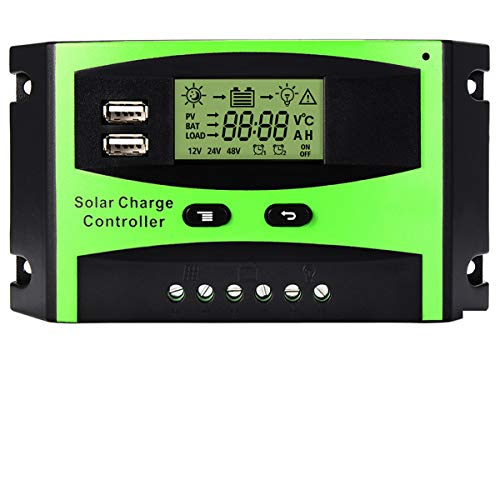 MOHOO 30A Solar Charge Controller Solar Panel Battery Intelligent Regulator with Dual USB Port PWM LCD Display 12V/24V -
