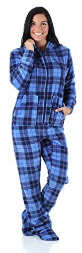 SleepytimePjs Women's Sleepwear Fleece Hooded Footed Onesie Pajamas Blue Plaid – (ST17-W-3034-MED) -