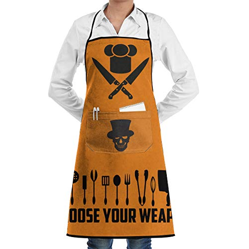 Halloween Skull Silhouette Clip Art Aprons Bib Mens Womens Adjustable Polyester Gardening BBQ Grill Chef Cooking Long Full Kitchen Aprons For Cafe Outdoor Restaurant Cleaning Serving Crafting Baking