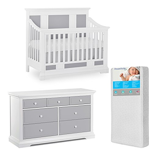 Evolur Parker 5 in 1 Convertible and Dresser with Free 260 Coil Crib/Toddler ()