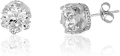 18K White Gold Over Sterling Silver Round Stud Earring