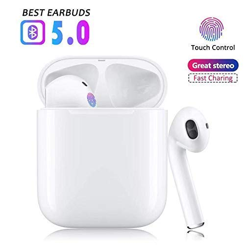 SHAKEROK Wireless Neckband Headphones, Stereo Bluetooth Earphones with Mic CVC6.0 Noise Cancelling, Deep Bass, IPX5 Sweatproof for Sports Gaming Headset, 8H Playtime, Magnetic Switch White