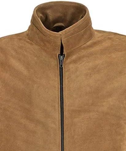 Mens Leather Suede Camel Brown 100/% REAL Specter Biker Style Jacket 5917