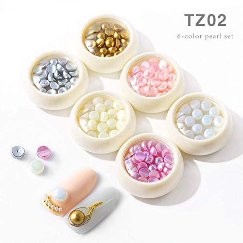 Lookathot 6Boxes Pearls Set 3D Nail Art Decals Mixed Design Symphony AB Clear Pearls Jewelry DIY (#2)