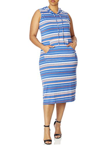 [77941XR-DNM-1X] Love Collection Hooded Dress with Stripes, Junior Plus Size, Spandex (Hood Dress)