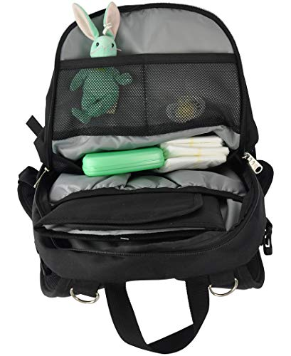 Rio Diaper Backpack with Baby Bottle Cooler and Changing Mat, Shoulder Baby Bag, Food Cooler, Clip to Stroller (Black/Bubble Gum) - Obersee