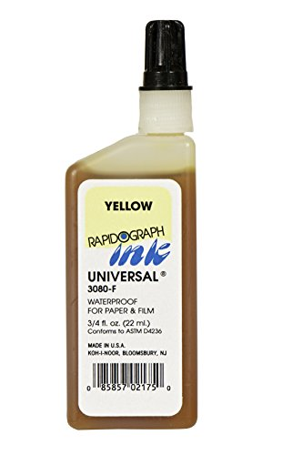 Koh-I-Noor Dye-Based Universal Drawing Ink, 0.75 Ounce Bottle, Yellow (3080F.YEL)