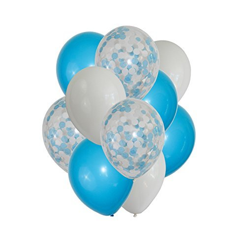 FindFun 12'' Blue Confetti Balloons Set for Boy Baby Shower Party Decoration (Pack Of 12) (Blue) ()