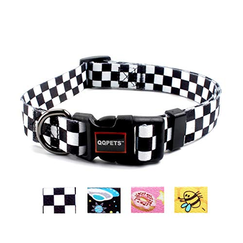 (QQPETS Dog Collar Personalized Adjustable Custom Basic Collars Soft Comfortable for Puppy Small Medium Large Dogs or Cats Outdoor Training Walking Running (S, Black and White Plaid))