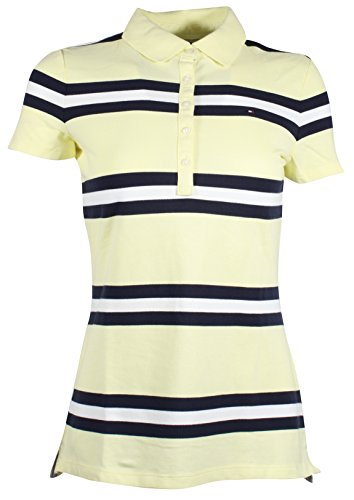 (Tommy Hilfiger Women's 5 Button Striped Polo Shirt (Large, Yellow/Navy/White))