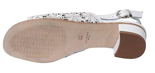 Marion Spath Damen 355-162 Glattleder Extravagante Sandale mit Lasercuts Weiß