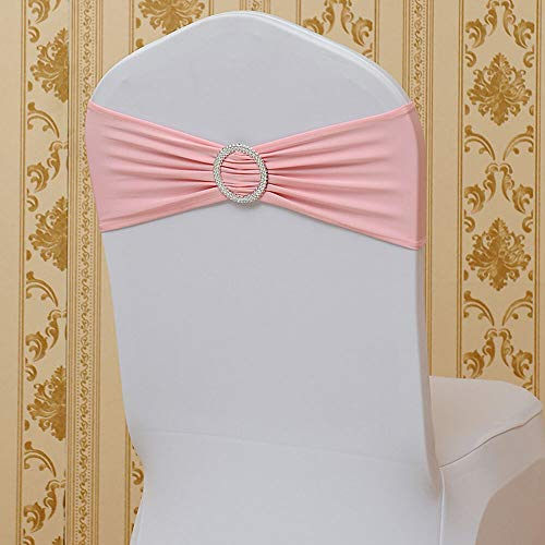 NICE CHOOSE Chair Cover Bow Straps, 50Pcs Spandex Stretch Wedding Decoration Chair Bands with Buckle Slider Sashes for Party Event and Banquet (US Shipping) (Pink)