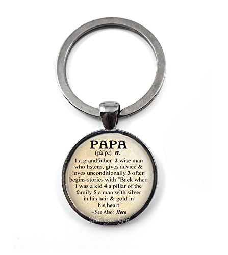 Papa Dictionary Definition Key Chain Charm - Glass Dome Key Ring for Grandpa Father's (Definition Keychain)