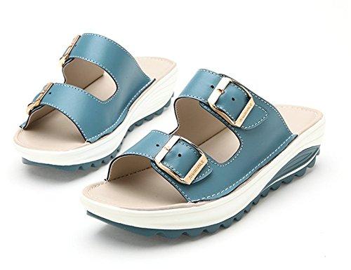 Kiilat Nahka Alustan Cystyle Sininen Shape Ups Naisten Toe Naisten Mukavuutta Kävelykengät Kallistuneen Sandaalit Peep qtwqn0A5