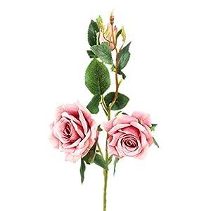 Zerama 3 Heads Artificial Cloth Rose Flower Fake False Blossom Floral Wedding Bouquet Festival Party DIY 25