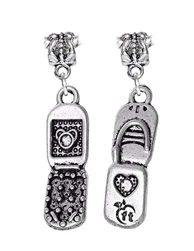 1PC Cell Phone Flip Mobile Telephone Dangle Charm for European Bead Bracelets Jewelry Making Supply by Wholesale Charms
