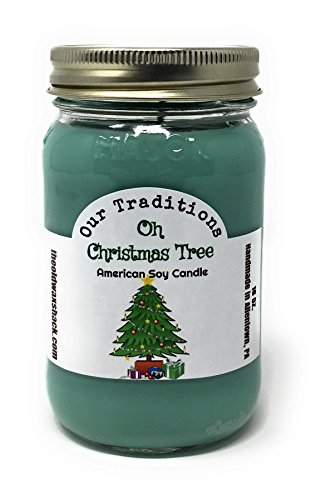Oh Christmas Tree Scent Soy Candle – 16 Oz. Mason Jar – Holiday Scent