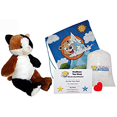Make Your Own Stuffed Animal Calico Cat Kit - No Sew - With Cute Backpack!: Toys & Games