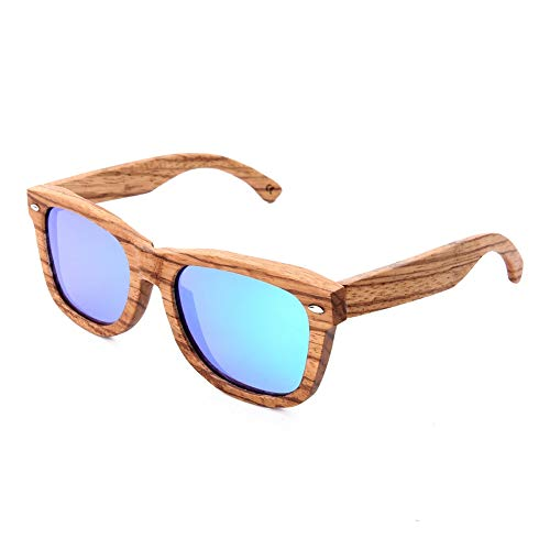 (Zebra Wood Sunglasses Polarized Shades for Men UV Protection Wooden Eyewear Glasses (Green, 2.2))
