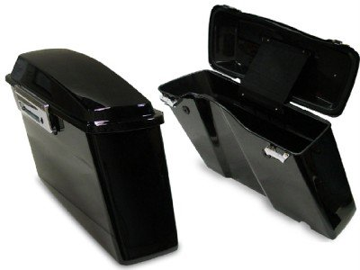 TMS Black Hard Saddlebags Trunk W/lid & Latch Cover Kit for Harley Touring FLT FLH by TMS