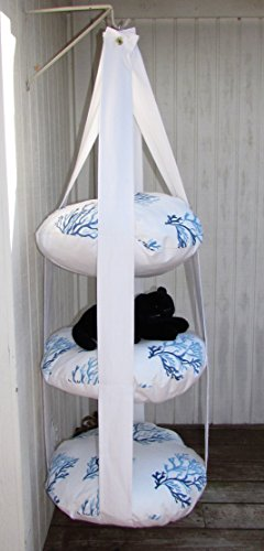 Cat Bed, White with Blue Coral, Triple Kitty Cloud Hanging Cat Bed, Pet Furniture, Pet Gift, Cat Gift, Cat Tree by 7 Cats Heaven