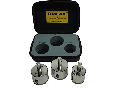 (Drilax 3 Pcs Diamond Drill Bit Set Extra Tall 1-1/2