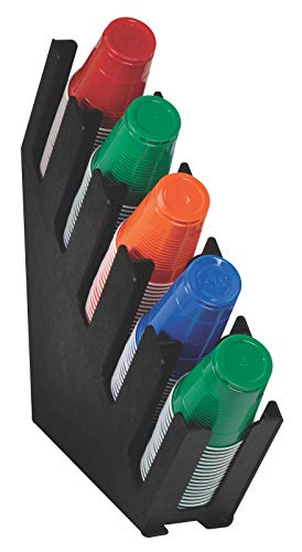 - Dispense-Rite LID-5BT Five Section Countertop Cup and Lid Organizer