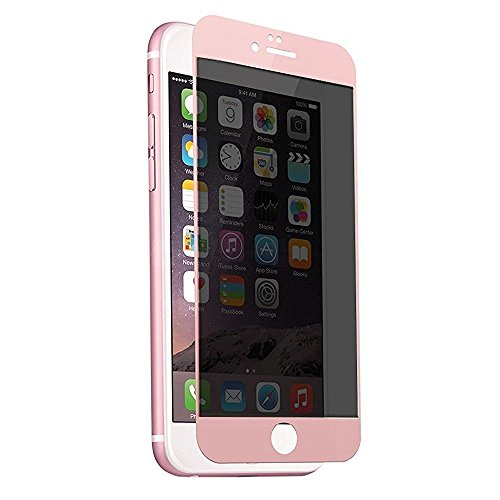 iPhone 7 Plus Privacy Screen Protector,HYAIZLZ(TM)Anti Spy Anti-Glare Ballistic Matte 9H 2.5D Full Coverage Tempered Glass Screen Protector for iPhone 7 Plus,Pink - Matte Pink