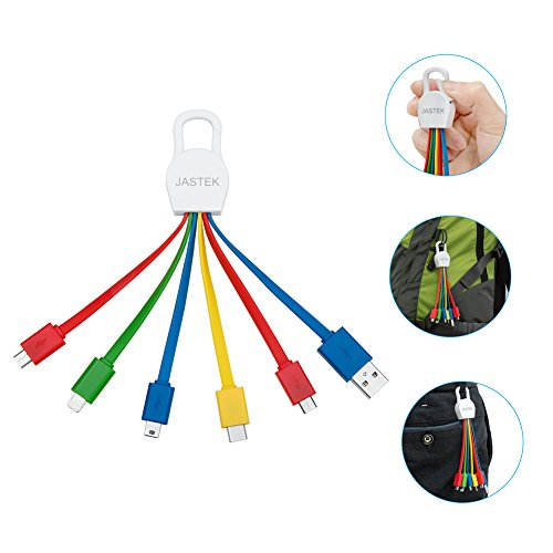 Price comparison product image JASTEK Multi Charging Cables with 8pin Connector, Micro USB, Mini USB and Type C Ports for Mobile Devices Charging - Colorful
