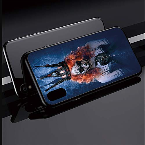 Phone case Compatible with iPhoneX iPhoneXS Ultra Slim Magnet Protective Case Metal Frame,Art Halloween Evil Face Bizarre Make Up Zombie,Tempered Glass Back [Magnetic Adsorption Technology]Black Frame -