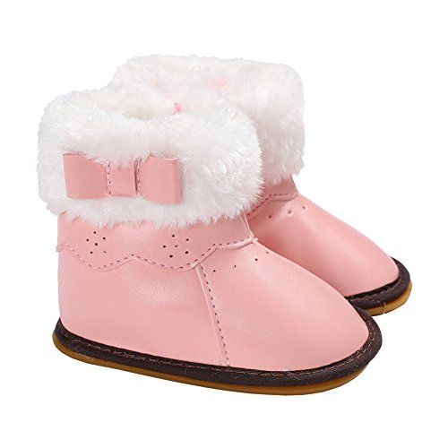 Baby Girls Bowknot Winter Snow Boots (Pink) - 3