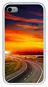 Highway at Sunset TPU Custom Design iPhone 4/4S Case Cover - White