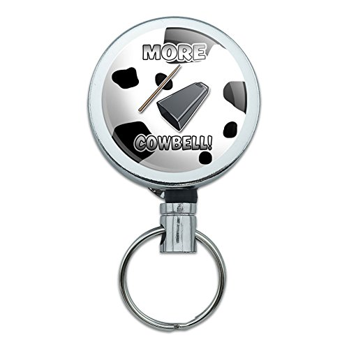 - Retractable Reel Belt Clip ID Badge Key Holder Music Musical Instruments - More Cowbell Funny Music