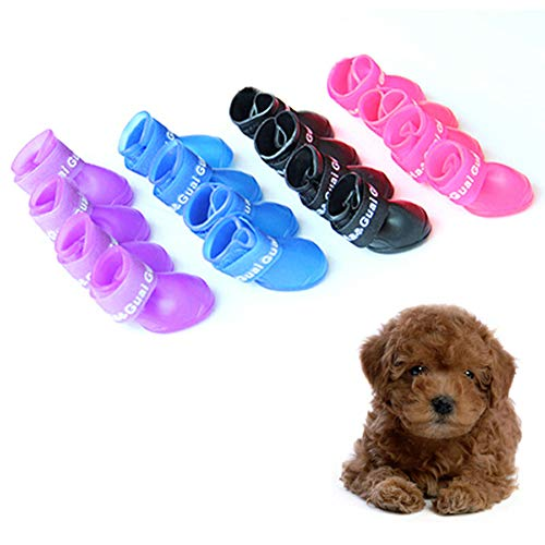 Adarl Pet Puppy Dog Boots Waterproof Protective Rubber Rain Shoes Booties Solid ()