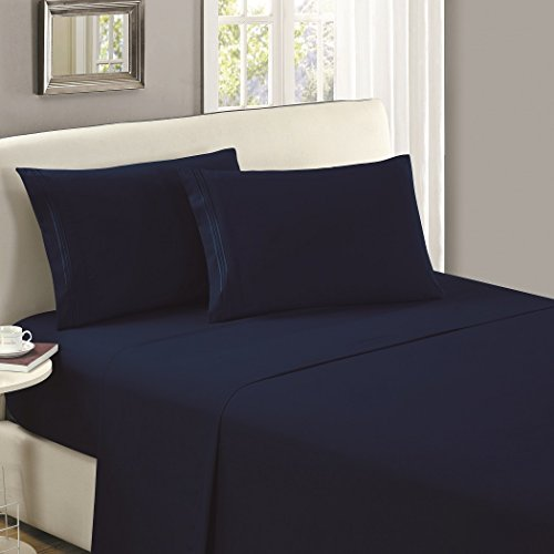 (Mellanni Flat Sheet Queen Royal-Blue Brushed Microfiber 1800 Bedding Top Sheet - Wrinkle, Fade, Stain Resistant - Hypoallergenic - (Queen, Royal Blue))