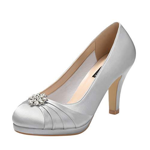 ERIJUNOR E0101 Women Comfort Mid Heel Pumps Closed-Toe Satin Wedding Evening Party Dress Shoes Silver Size7