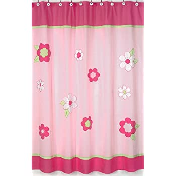 This Item Pink And Green Flower Collection Kids Bathroom Fabric Bath Shower Curtain By Sweet Jojo Designs