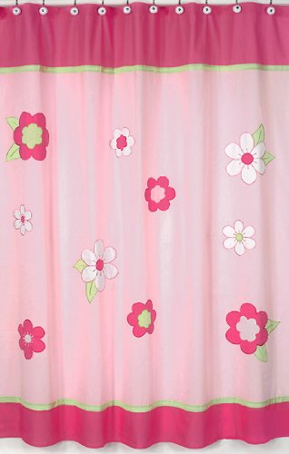 Pink And Green Flower Collection Kids Bathroom Fabric Bath Shower Curtain By Sweet Jojo Designs