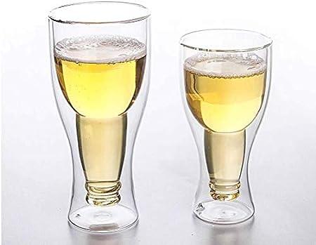 Hs&sure Vidrio en Forma de Botella de Cerveza, Vidrio de Whisky de 400 ml, Vidrio Transparente de Vidrio de Vidrio Doble Resistente al Calor/Vidrio de Cerveza/Bebida fría (Color : A, Size : 8PCS)