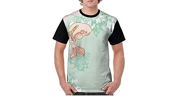 Fashion Printed T-Shirts Koi Longfin Gurnard Fish Swimming Pale Complex Customiz