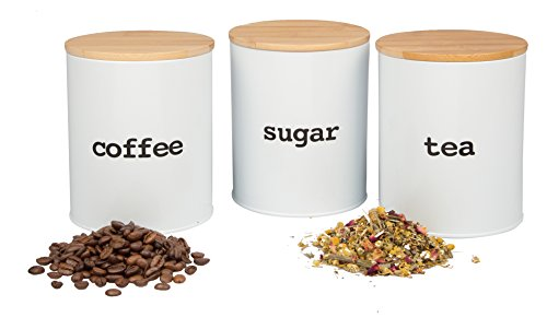 Kitchen Canister Set with Air Tight Bamboo Lids- 3 Food Storage Containers for Coffee, Tea and Sugar (Tea Coffee And Containers)