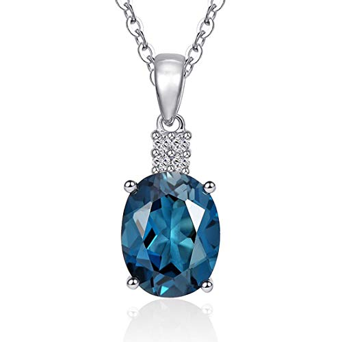 Carleen14K Solid White Gold 1.583ct London Blue Topaz 0.04ct Diamond Pendant Necklace for Women Girls, 16